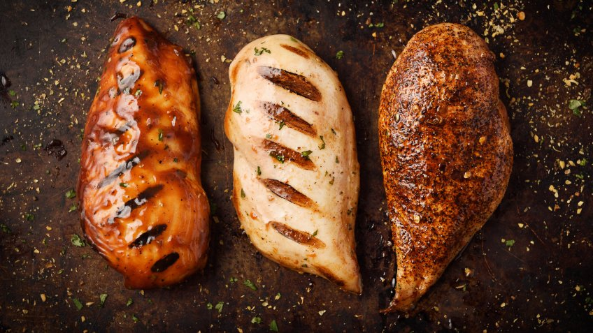 Grilled and Roast chicken breast with seasoning in a cooking pan.