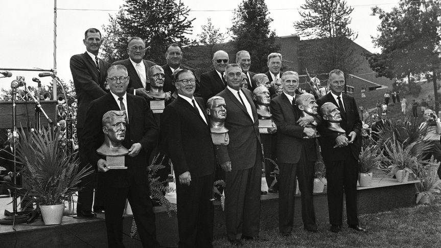 Mandatory Credit: Photo by Anonymous/AP/Shutterstock (6622719a)Eleven of the 17 charter members who were enshrined into the national pro football Hall of Fame at Canton, Ohio, on .