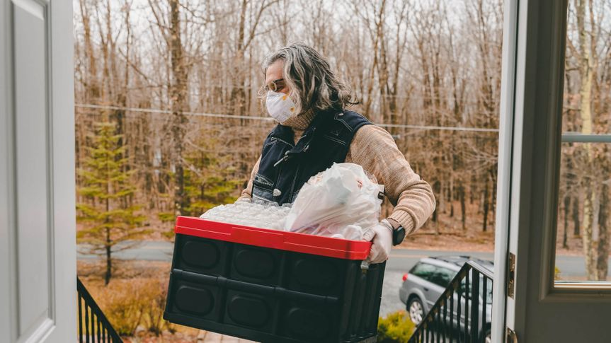 Groceries home delivery during the COVID-19 coronavirus outbreak in Poconos, Pennsylvania, USA.