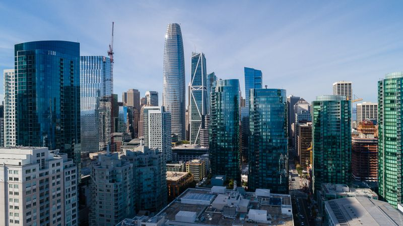 San Francisco Downtown with the major skyscrapers includes Lumina, 181 Fremont, Salesforce Tower and more.