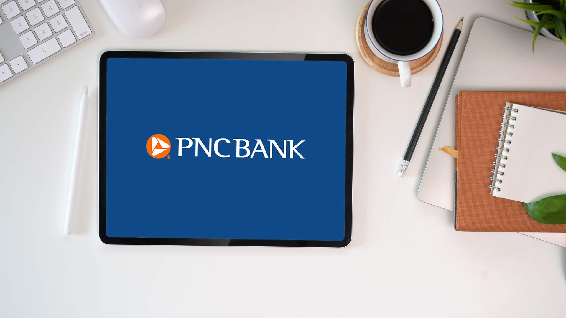 tablet with PNC bank mobile app