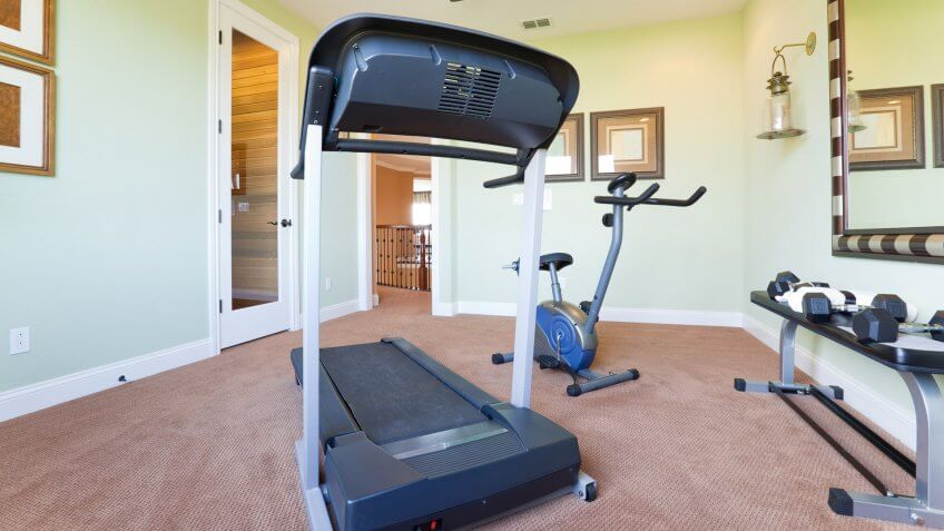 Fitness exercise room in an upscale american home.