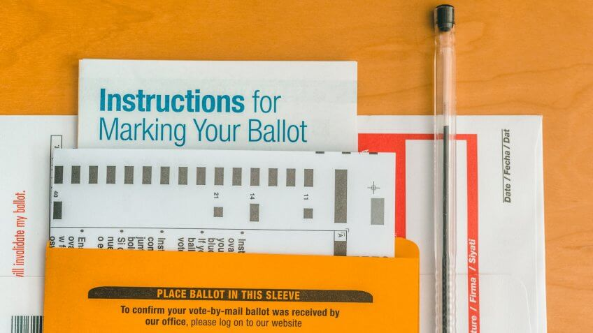 Set of voting ballot ready to be send.