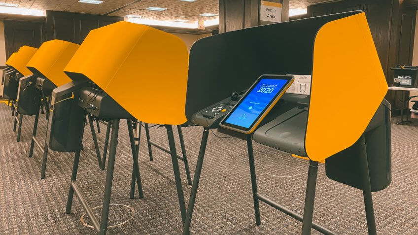 LOS ANGELES, CA, MAR 2020: Voting Center with new, modern, electronic voting booths with touch screens that generate paper copies, at Kenneth Hahn Hall of Administration, Downtown Civic Center.