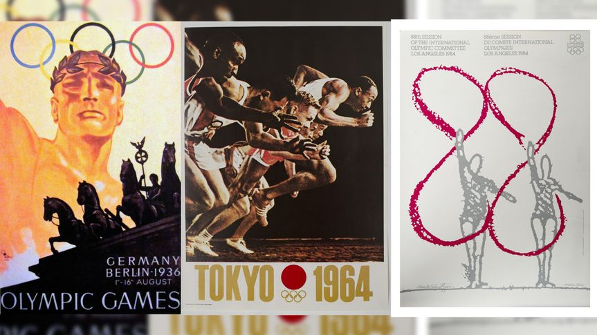 The 1936 Berlin Olympics, The 1964 Tokyo Olympics, and the 1984 Los Angeles Olympics posters