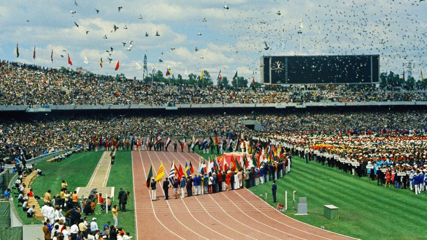 View of the University City Olympic Stadium at Mexico City, Mexico 1968 site of the Nineteenth Olympiad, or the XIX Olympiad summer games.