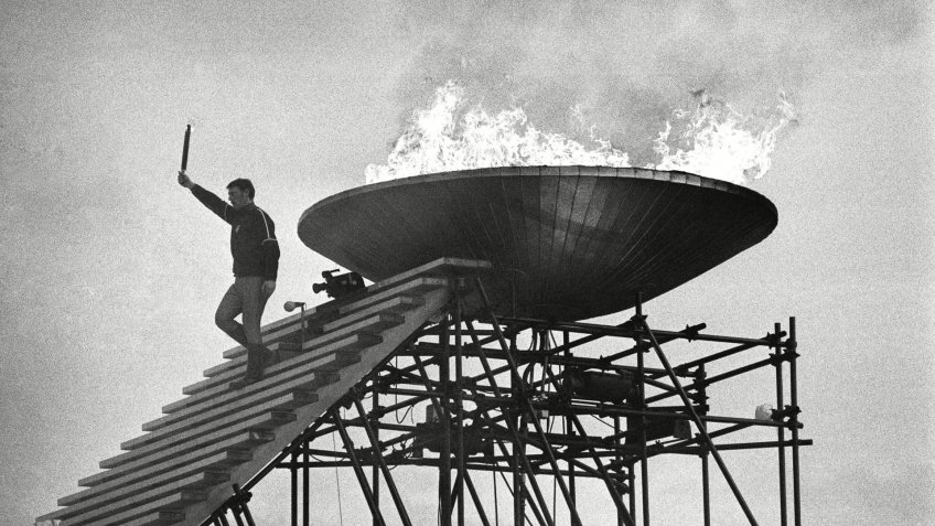 Former Olympic figure skater, Alain Calmet of France, is seen after lighting the Olympic Flame during the opening ceremony of the 1968 Winter Olympics in Grenoble1968 Winter Olympics, Grenoble, France.