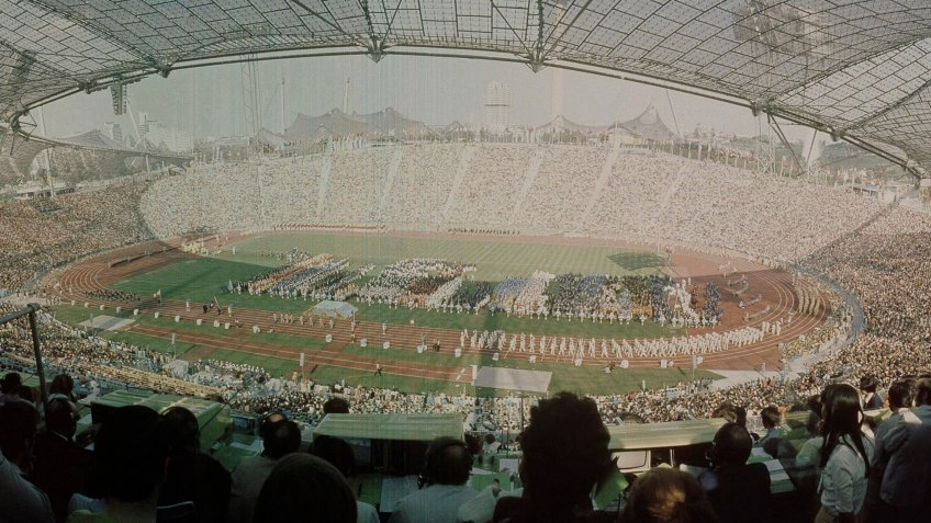 Pictured here is an aerial view of the Olympic Stadium during the opening ceremonies of the 1972 Summer Olympics in Munich, GermanyOpening Ceremonies, Munich, Germany.