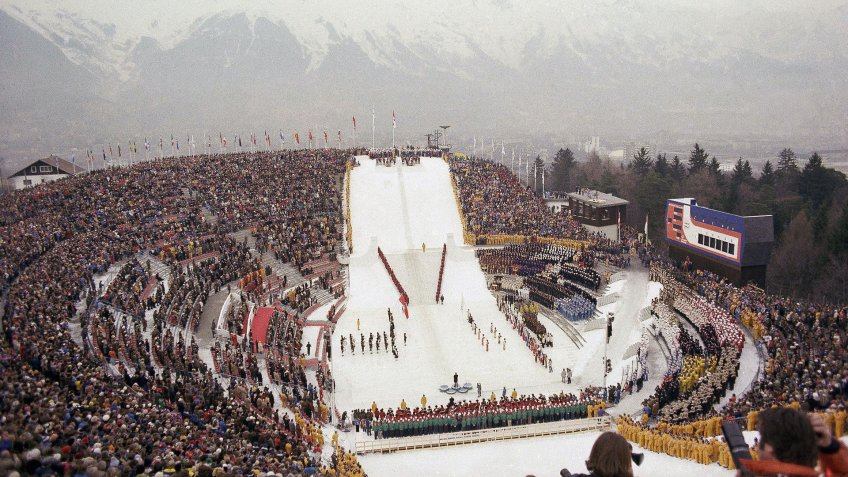 General shots of the opening ceremonies of the 1976 Winter Olympic games, Innsbruck, AustriaWinter Olympics 1976, Innsbruck, Austria.