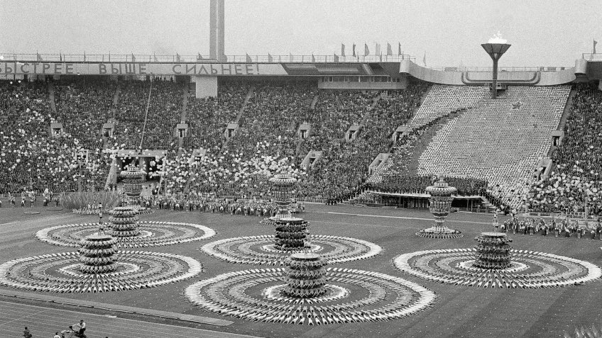Spiraling human pyramids occupy the field of Lenin Stadium in Moscow during show presented during opening ceremonies of XXII Summer OlympicsOlympics Summer 1980 Moscow RUS Opening Ceremony, Moscow, Russia.