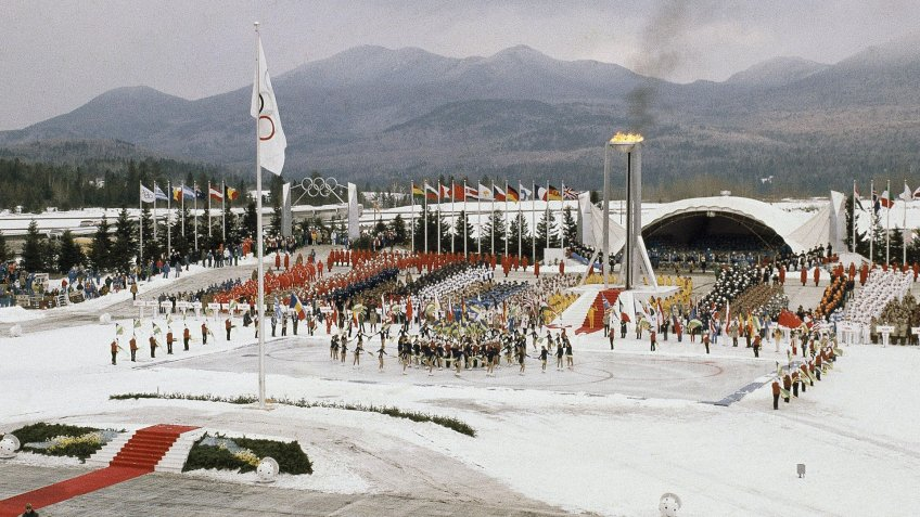 Mandatory Credit: Photo by Anonymous/AP/Shutterstock (6584642b)Opening ceremony of XIII Winter Olympics on in Lake Placid, N.