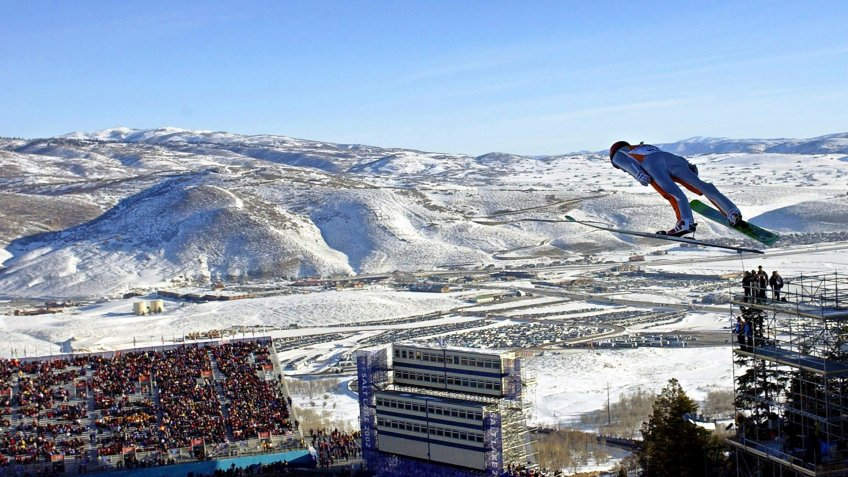 Simon Ammann, of Switzerland, competes in the men's K90 individual ski jump at the Salt Lake City Winter Olympics in Park City, Utah.