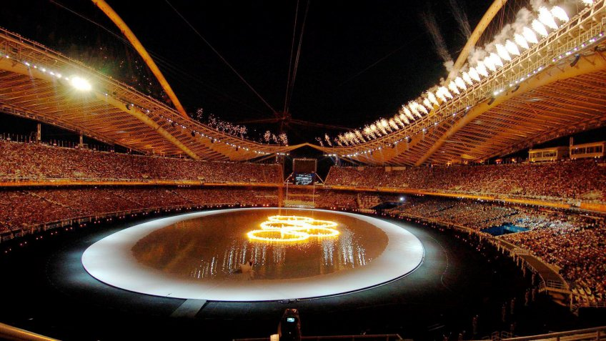 The Olympic Rings on Fire Are Seen in the Olympic Stadium During the 2004 Athens Olympic Games Opening Ceremony Friday 13 August 2004 More Than 10 800 Athletes Will Compete in the Olympics Epa/dpa Andreas Altwein Greece AthensOlympics Athens 2004 - Aug 2004.