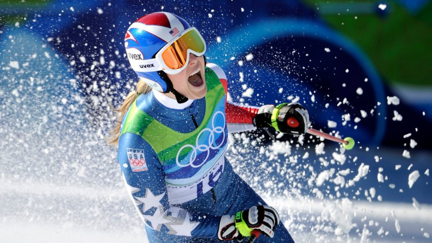 Lindsey Vonn of the United States, reacts in the finish area after completing the Women's downhill at the Vancouver 2010 Olympics in Whistler, British Columbia.