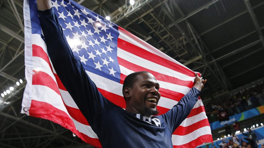 Kevin Durant of the Usa Celebrates After Winning the Men's Basketball Gold Medal Game Between Serbia and the Usa at the Rio 2016 Olympic Games at the Carioca Arena 1 in the Olympic Park in Rio De Janeiro Brazil 21 August 2016 Brazil Rio De JaneiroBrazil Rio 2016 Olympic Games - Aug 2016.