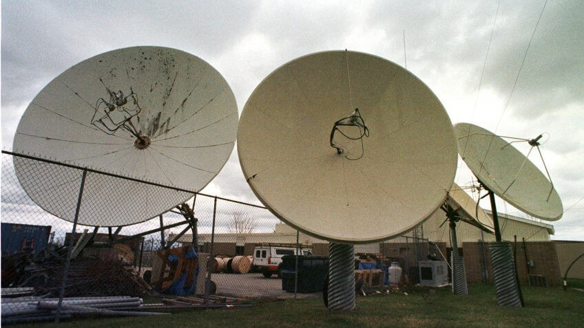 Mandatory Credit: Photo by Toby Talbot/AP/Shutterstock (7192591a)ADELPHIA FILE--Satellite dishes point skyward at the Adelphia Communications offices in Berlin, Vt.