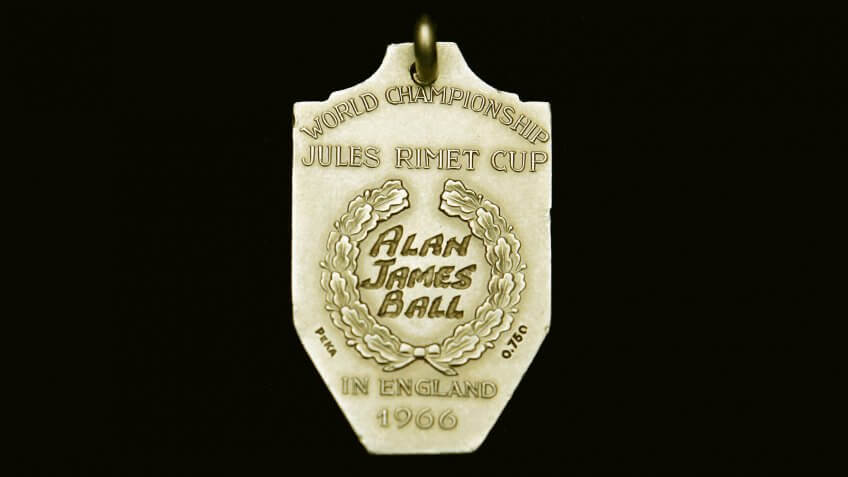 LONDON - MAY 19:  The Gold medal handed to Alan James Ball, a member of the winning English World Cup 1966 team, sits on display on May 19, in London.