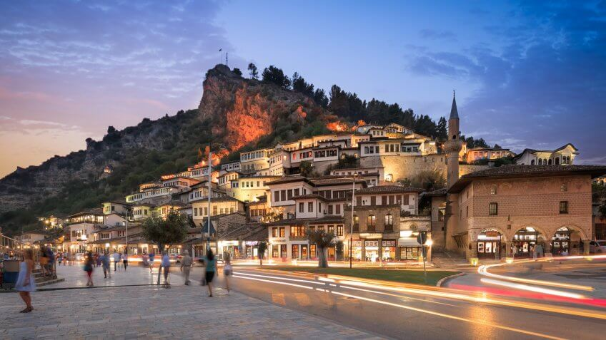 Berat, albania by night.