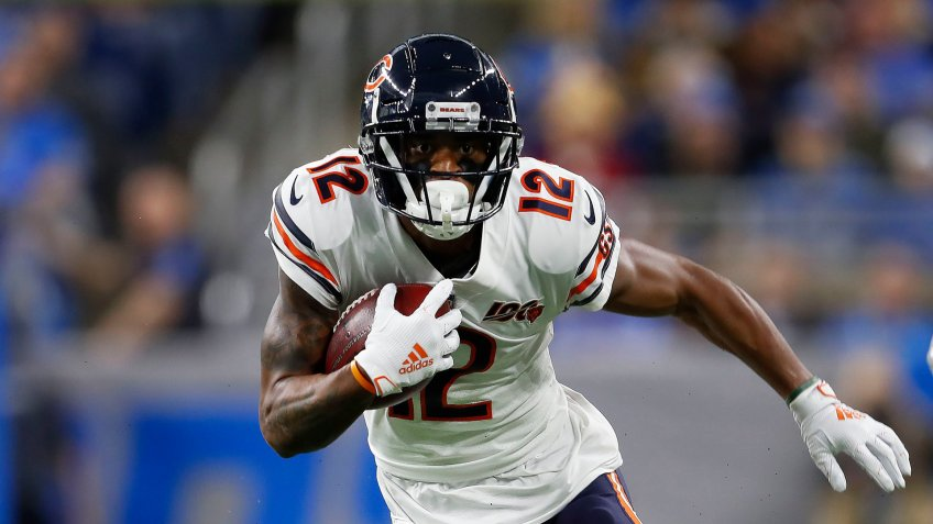 Mandatory Credit: Photo by Paul Sancya/AP/Shutterstock (10492585a)Chicago Bears wide receiver Allen Robinson runs the ball after a catch against the Detroit Lions during an NFL football game in DetroitBears Football, Detroit, USA - 28 Nov 2019.