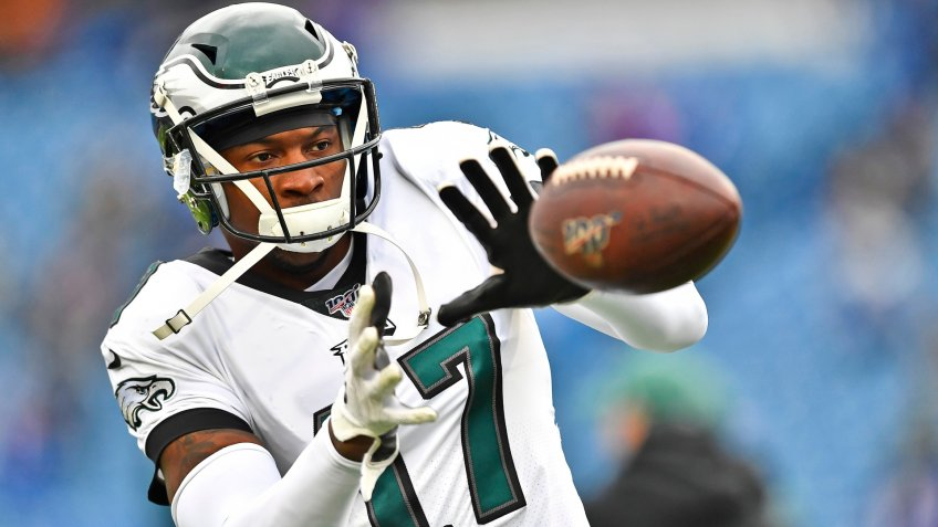 Mandatory Credit: Photo by Adrian Kraus/AP/Shutterstock (10457669t)Philadelphia Eagles' Alshon Jeffery warms-up before an NFL football game against the Buffalo Bills, in Orchard Park, N.