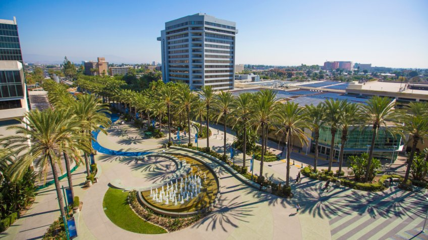 Elevated daytime view of the Anaheim, California skyline.
