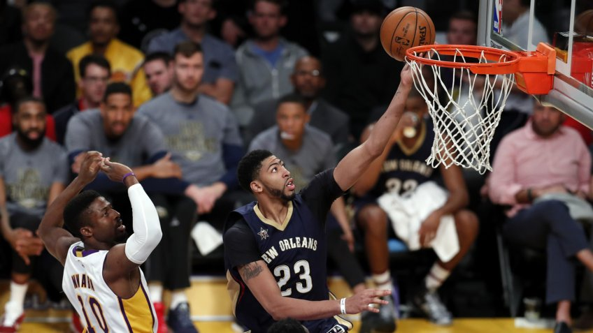 Anthony Davis and David NwabaNew Orleans Pelicans at Los Angeles Lakers, USA - 05 Mar 2017New Orleans Pelicans forward Anthony Davis (R) gets past Los Angeles Lakers guard David Nwaba (L) in the first half of their NBA game at Staples Center in Los Angeles, California, USA, 05 March 2017.