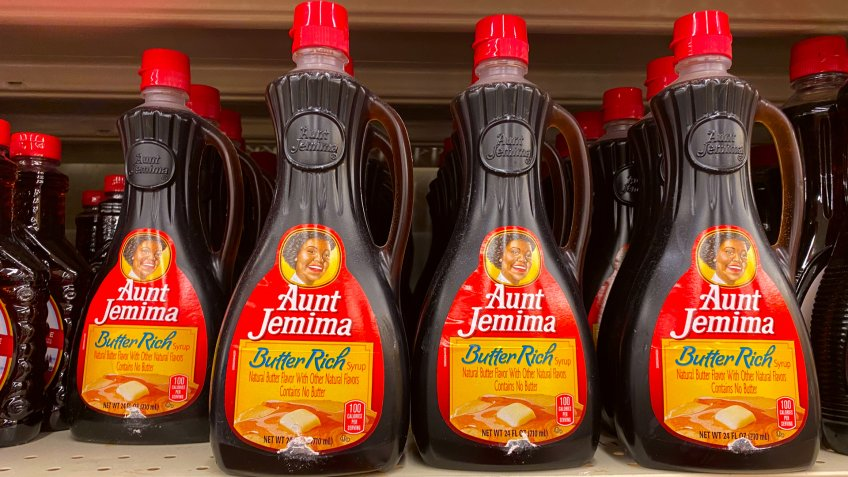 El Paso, Texas / USA: Circa June 2020 Bottles of Aunt Jemima Pancake syrup on a grocery store shelf.