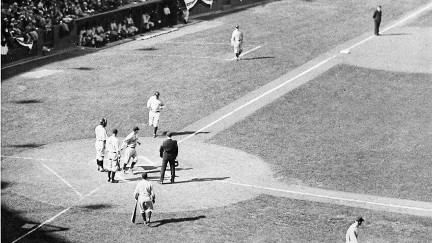 Mandatory Credit: Photo by AP/Shutterstock (6656616a)Babe Ruth crosses the plate in Game 3 of the World Series, 1932ASAP SPORTS RETRO RUTH, CHICAGO, USA.