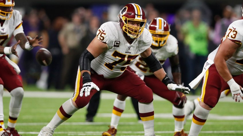 Mandatory Credit: Photo by Jeff Haynes/AP/Shutterstock (10455874pm)Washington Redskins offensive guard Brandon Scherff (75) sets to block against the Minnesota Vikings during an NFL football game, in MinneapolisRedskins Vikings Football, Minneapolis, USA - 24 Oct 2019.