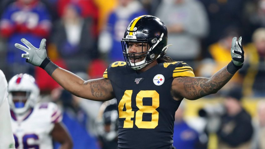 Mandatory Credit: Photo by Keith Srakocic/AP/Shutterstock (10506256qs)Pittsburgh Steelers outside linebacker Bud Dupree (48) plays against the Buffalo Bills during the first half of an NFL football game in PittsburghBills Steelers Football, Pittsburgh, USA - 15 Dec 2019.