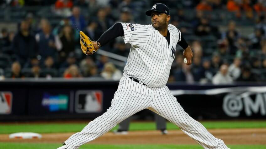 Mandatory Credit: Photo by Matt Slocum/AP/Shutterstock (10448999cm)New York Yankees pitcher CC Sabathia throws against the Houston Astros during the eighth inning in Game 4 of baseball's American League Championship Series, in New YorkALCS Astros Yankees Baseball, New York, USA - 17 Oct 2019.