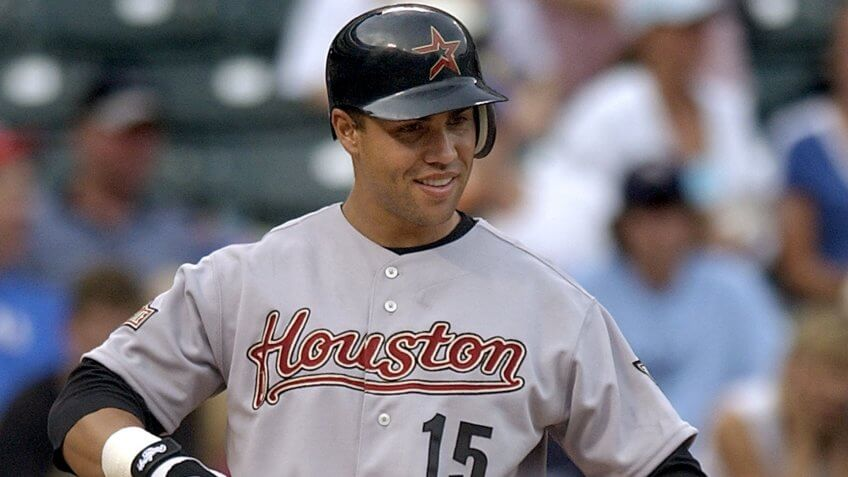 Mandatory Credit: Photo by Tony Gutierrez/AP/Shutterstock (6393572a)BELTRAN Houston Astros' Carlos Beltran smiles as he walks up to the batters box for his first at-bat as an Astro in a game against the Texas Rangers, in Arlington, Texas.