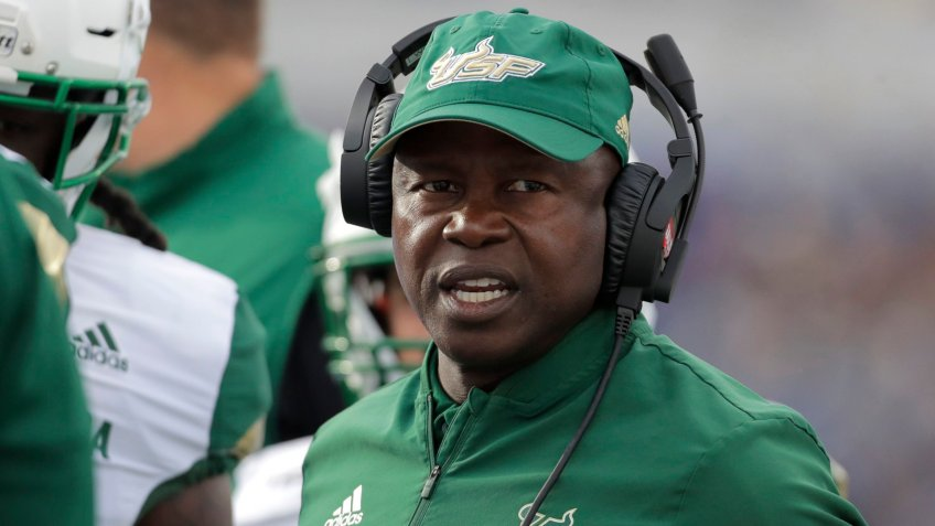 South Florida head coach Charlie Strong looks on during the first half of an NCAA college football game against Navy, in AnnapolisSouth Florida Navy Football, Annapolis, USA - 19 Oct 2019.