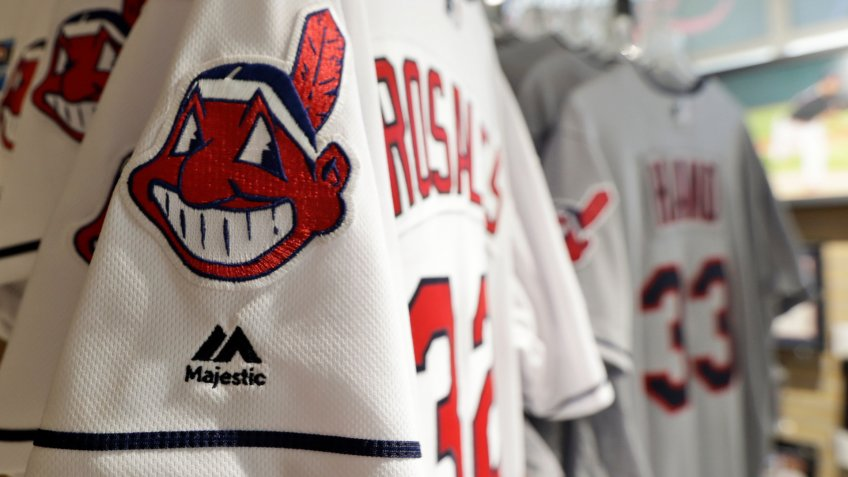 Mandatory Credit: Photo by Tony Dejak/AP/Shutterstock (10328579a)Jersey's with Chief Wahoo are displayed in the team shop, in Cleveland.