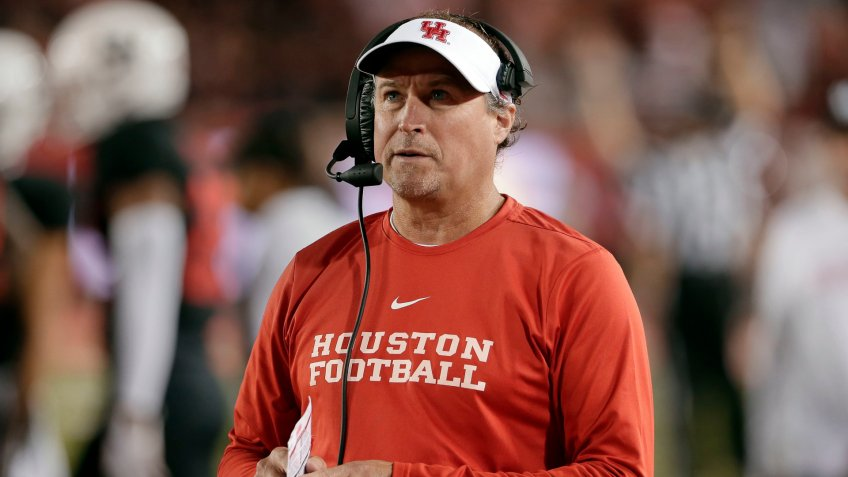 Houston head coach Dana Holgorsen during the second half of an NCAA college football game against SMU, in HoustonSMU Football, Houston, USA - 24 Oct 2019.