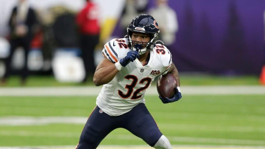 Mandatory Credit: Photo by Andy Clayton-King/AP/Shutterstock (10516678r)Chicago Bears running back David Montgomery runs up field during the second half of an NFL football game against the Minnesota Vikings, in MinneapolisBears Vikings Football, Minneapolis, USA - 29 Dec 2019.