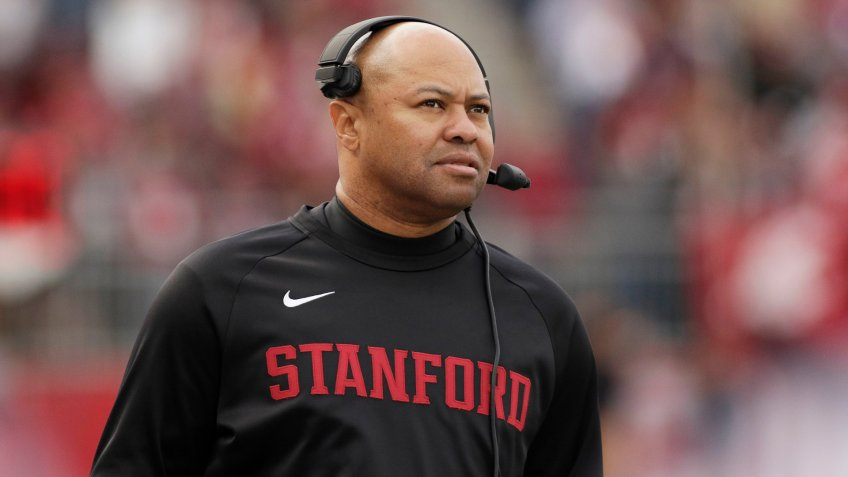 Stanford head coach David Shaw looks on during the first half of an NCAA college football game against Washington State in Pullman, Wash.