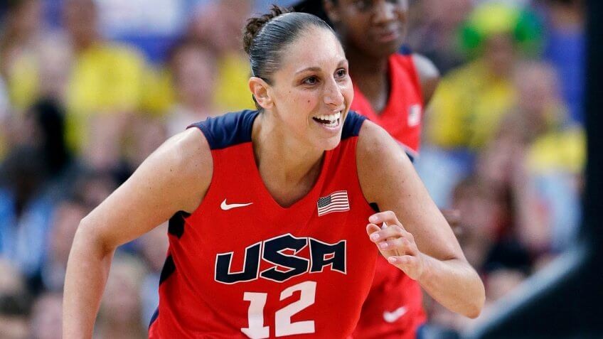 Mandatory Credit: Photo by Eric Gay/AP/Shutterstock (6862978l)Diana Taurasi USA's Diana Taurasi smiles as she runs up court during a semifinal women's basketball game against Australia at the 2012 Summer Olympics, in LondonLondon Olympics Basketball Women.