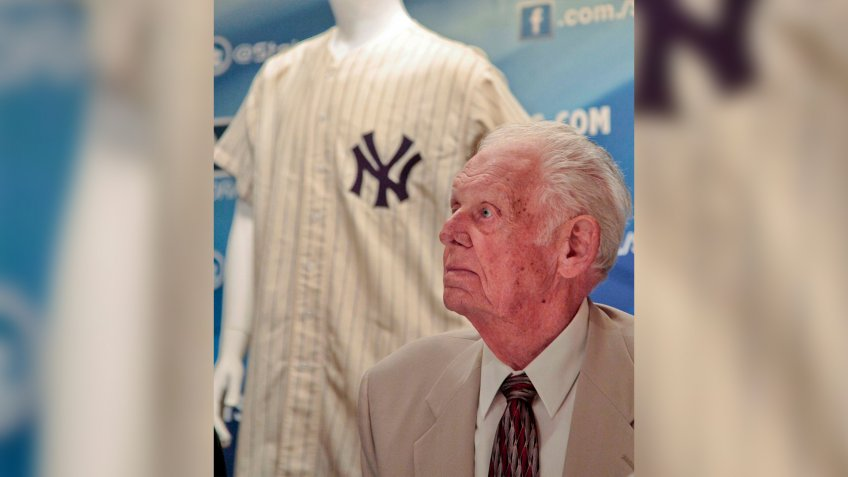 Mandatory Credit: Photo by Bebeto Matthews/AP/Shutterstock (6238800a)New York Yankees great Don Larsen reacts during a news conference announcing the auction of his 1956 perfect game uniform.