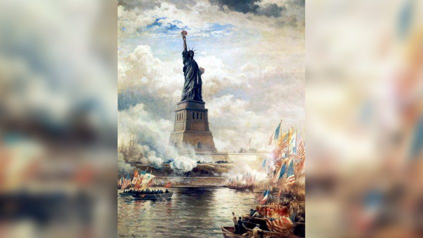 Edward Moran oil painting unveilinig the Statue of Liberty