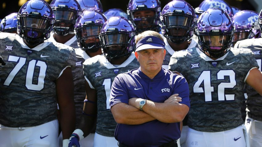 TCU head coach Gary Patterson and his team prepare to take the field against Southern University before an NCAA college football game, in Fort Worth, TexasSouthern TCU Football, Fort Worth, USA - 01 Sep 2018.