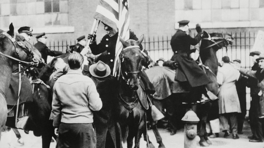 Mandatory Credit: Photo by Everett/Shutterstock (10305763a)Mounted police clashing with strikers, outside an electrical plant in Philadelphia.