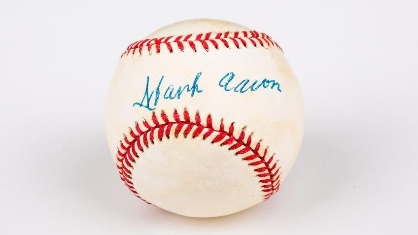 Hank Aaron signed baseball