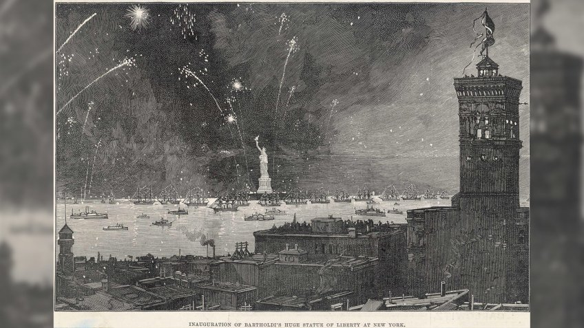 New York: Inauguration of Bartholdi's Statue of Liberty in 1886 with A Firework Display 1886Historical Collection97.