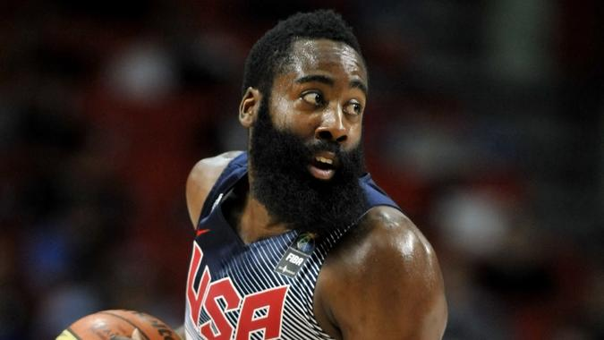 MADRID, SPAIN - September 14th 2014 : JAMES HARDEN of USA in action during the Final game of FIBA BASKETBALL WORLD CUP 2014 at Palacio de los Deportes Arena.