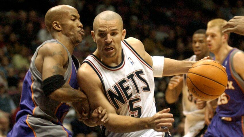 MARBURY KIDD New Jersey Nets' Jason Kidd, right, drives to the basket as he is guarded by Phoenix Suns' Stephon Marbury during the second quarter Monday night, in East Rutherford, N.