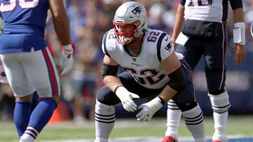 Mandatory Credit: Photo by Ron Schwane/AP/Shutterstock (10429744ho)New England Patriots guard Joe Thuney (62) lines up for a play against the Buffalo Bills in the first half of an NFL football game, in Orchard Park, N.