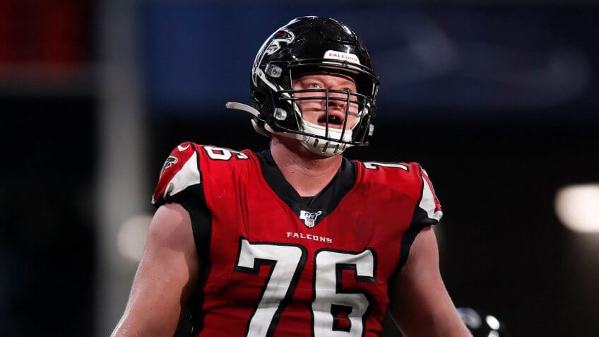 Mandatory Credit: Photo by Jeff Haynes/AP/Shutterstock (10513278gc)Atlanta Falcons offensive tackle Kaleb McGary (76) watches a kick against the Carolina Panthers during an NFL football game, in Atlanta.