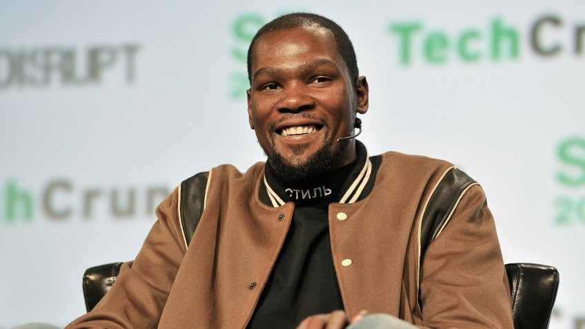 SAN FRANCISCO, CA - SEPTEMBER 19:  NBA Player and Durant Company/Thirty Five Media Partner Kevin Durant speaks onstage during TechCrunch Disrupt SF 2017 at Pier 48 on September 19, 2017 in San Francisco, California.