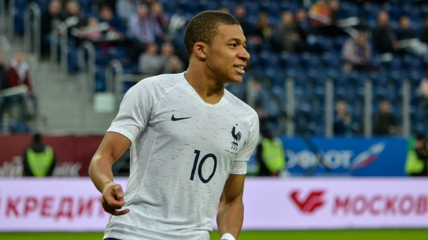 SAINT PETERSBURG, RUSSIA - March 27, 2018: Kylian Mbappe during a friendly match between national team Russia and France in Saint-Petersburg Stadium, 2018, Russia.